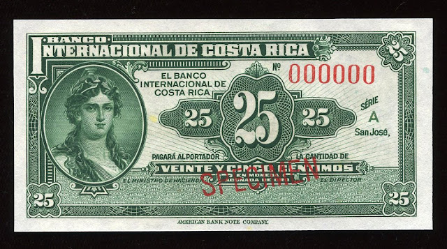 Fractional currency bank note Costa Rica money 25 Centimos