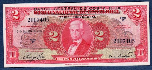 Costa Rica currency paper money 2 Colones Joaquín Bernardo Calvo Rosales
