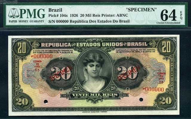 Brazil banknotes currency 20 Mil Reis bill