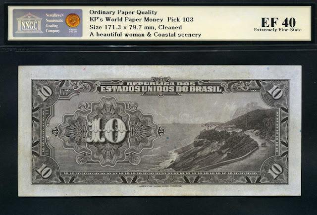 10 Brazian Mil Reis Gold Certificate banknote Notafilia Numismática  cédula note Rio de Janeiro Sugar Loaf Mountain