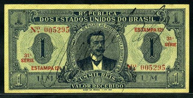 Billete cédula Brazilian Mil Reis