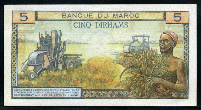 banknotes currency values 5 Dirhams Morocco 1969