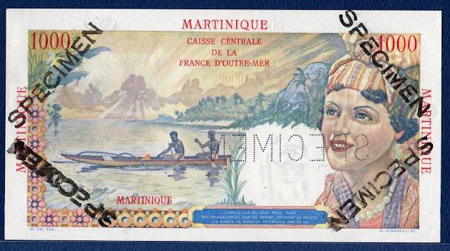 1000 Francs Martinique  banknote