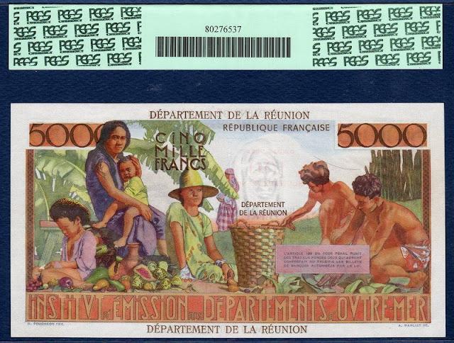 100 Nouveaux Francs on 5000 Francs Reunion 1971