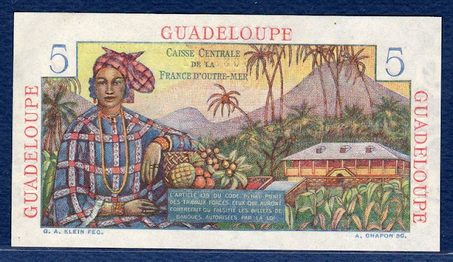 Guadeloupe currency banknotes values 5 Five Francs