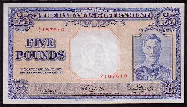 Bahamas banknotes currency 5 Pounds King George VI rare bank notes world money
