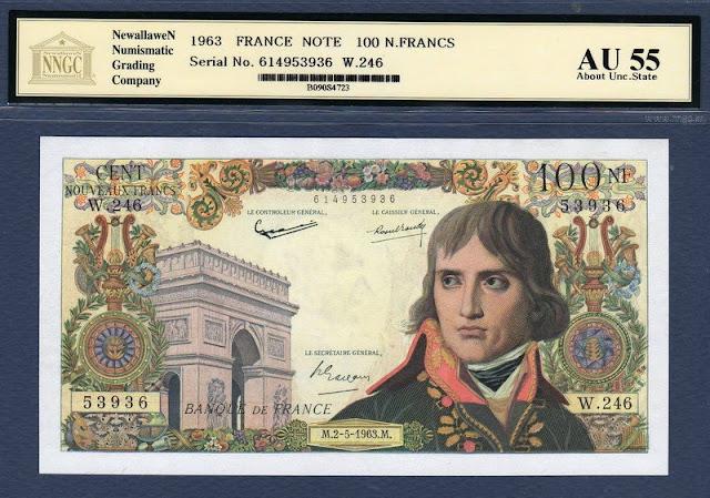 France currency banknotes values France 100 Nouveaux Francs Napoleon