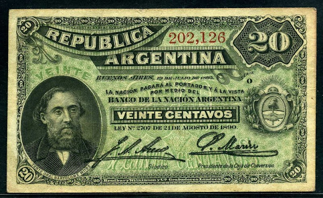 paper money Argentina 20 Centavos banknote Fractional Currency