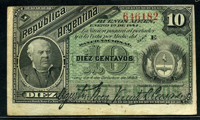 paper money Fractional Currency Argentina currency 10 Centavos banknote
