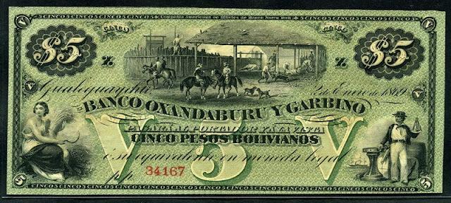 Argentina 5 Pesos Bolivianos Peso Moneda Nacional billetes