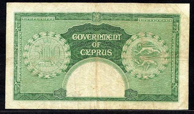Cyprus money 500 Mils note