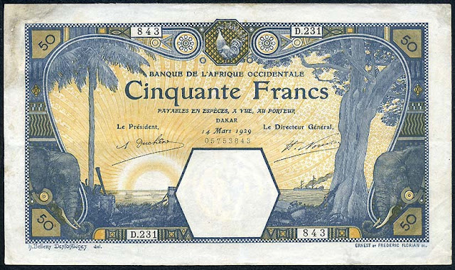 French West Africa currency Dakar 50 Francs banknote