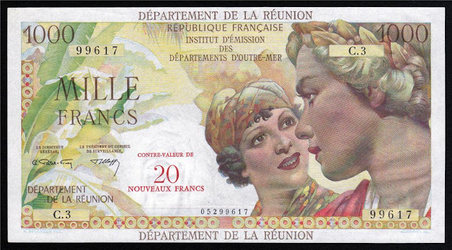 Reunion 1000 Francs banknote paper money collection