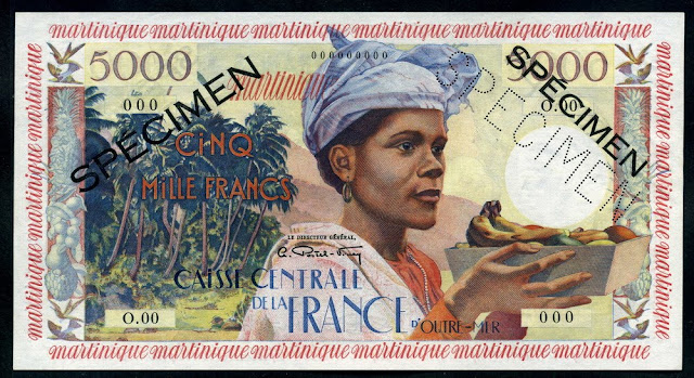 French Antilles Martinique 5000 Francs banknote money currency