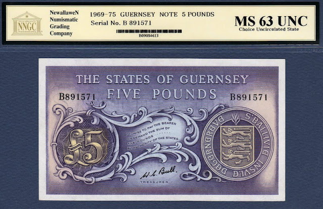 Guernsey 5 Pounds note sterling zone banknotes