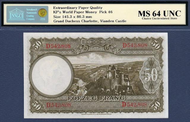 Luxembourg 50 Francs banknote Vianden Castle
