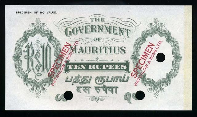 Banknotes Mauritius 10 Rupees bill Mauritius Rupee notes money