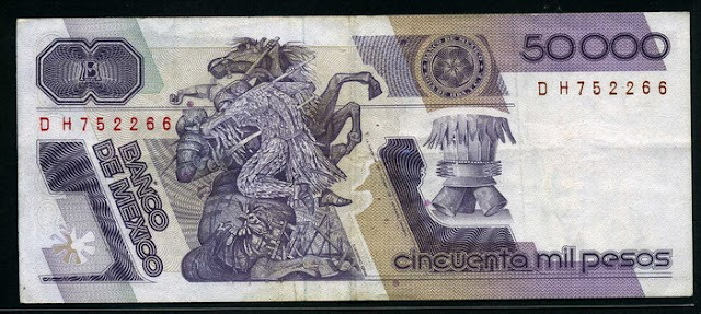 Mexico currency 50000 Pesos banknote Art Jorge González Camarena