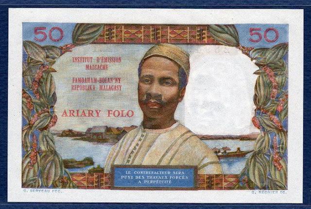 Paper Money Madacascar 50 Francs 10 Ariary