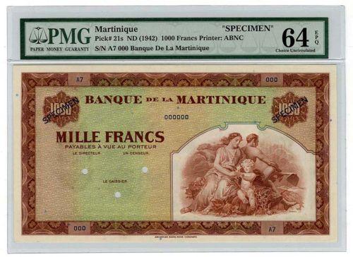 Martinique banknotes money currency 1000 Francs banknote billete