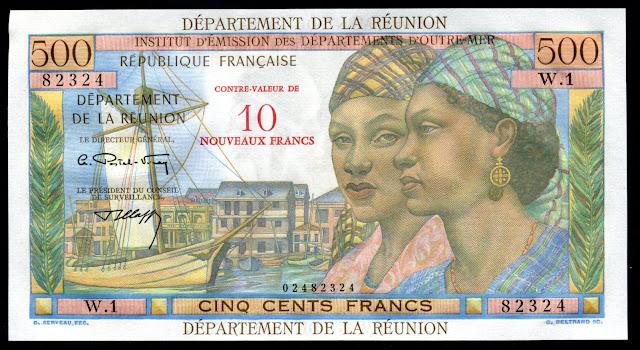 Reunion banknotes paper money 10 Nouveaux Francs on 500 Francs banknote