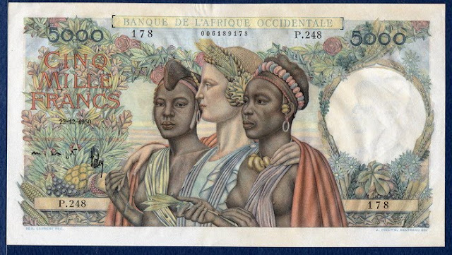French West Africa banknotes paper money 5000 Francs banknote Banque de L'Afrique Occidentale billete note pictures