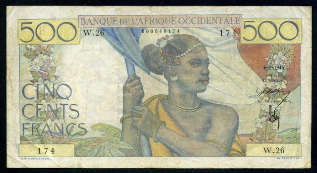 French West Africa banknotes 500 Francs banknote Banque de L'Afrique Occidentale Numismatic
