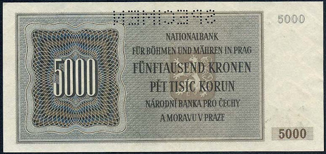 Protectorate of Bohemia and Moravia Paper Money  5000 Korun banknote NAZI GERMAN OCCUPATION CURRENCY