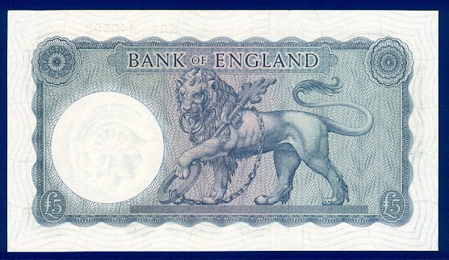 British 5 Pounds currency Paper Money British Lion