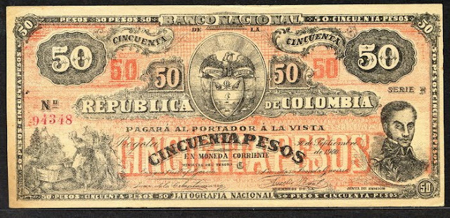Colombia banknotes 50 Pesos note bill