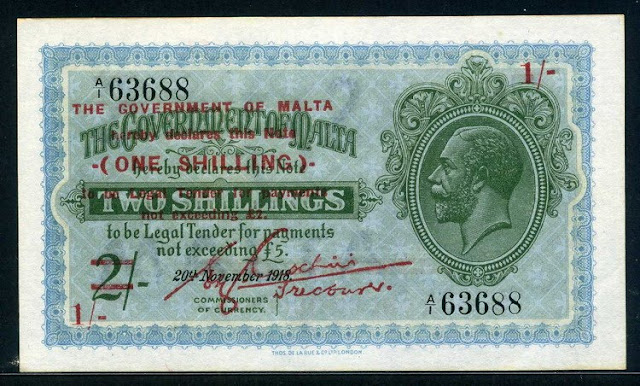 Malta paper money Shilling banknote bill