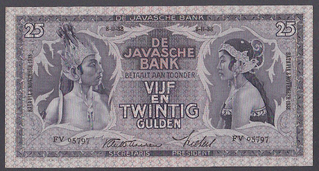 Netherlands Indies banknotes 25 Gulden note 1938 Javanese Dancers