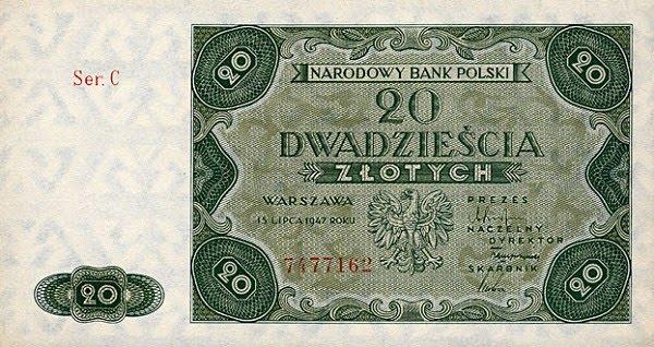 Poland paper money 20 Zlotych Narodowy Bank Polski