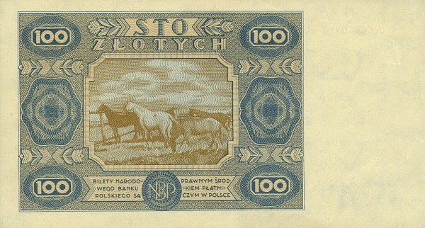 100 Zlotych, 1947 issue Horses