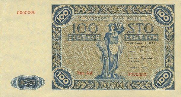 Poland paper money 100 Zlotych banknote Narodowy Bank Polski