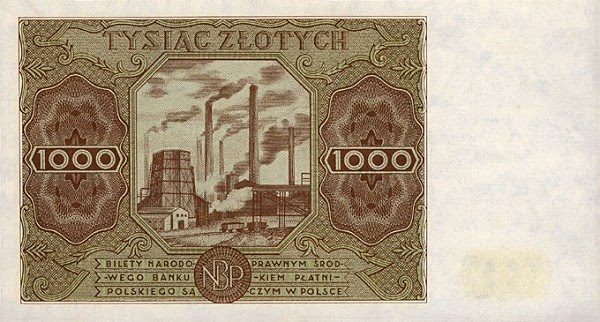 Rare Poland paper money 1000 Zlotych Banknotes issued in 1947 Factory
