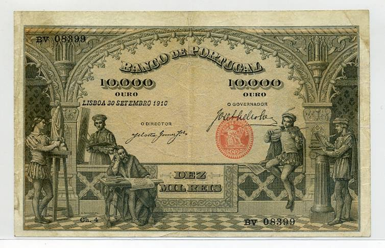 Portuguese paper money 10000 Reis banknote of 1910 Bank of ...