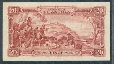 Angolan banknotes 20 Angolares banknote Reconquest of Luanda