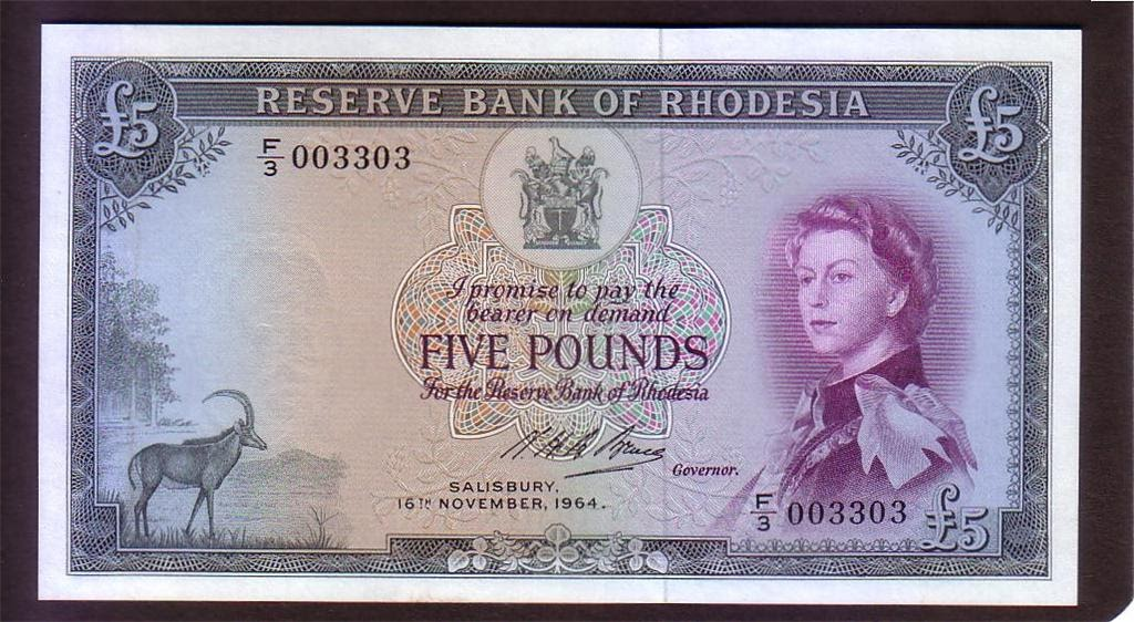 Rhodesian Banknotes Five Pound Note 1964 Queen Elizabeth