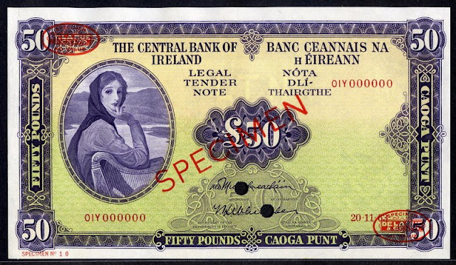 Ireland banknotes money currency 50 Pounds banknote Lady Lavery