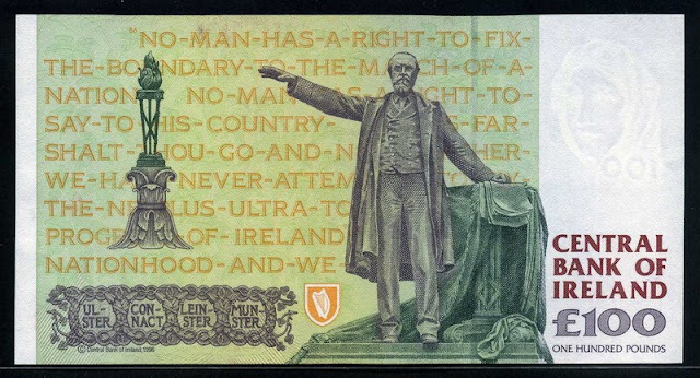 Ireland Republic money currency 100 Pounds note European banknotes pictures