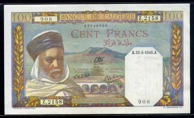 collection of banknotes online Bank Algeria 100 Francs Numismatics