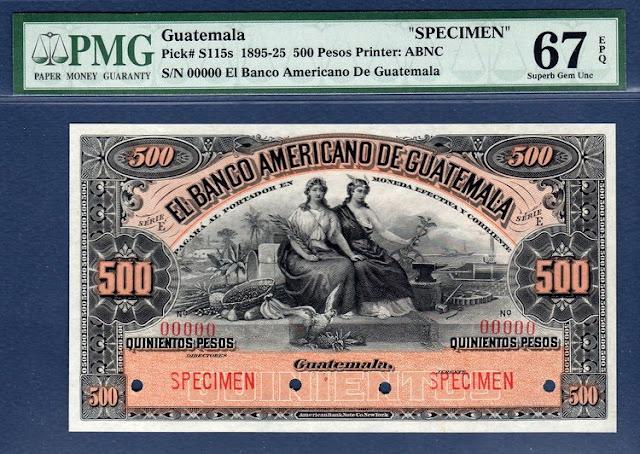 Notafilia Guatemala 500 Pesos Specimen banknote world paper money