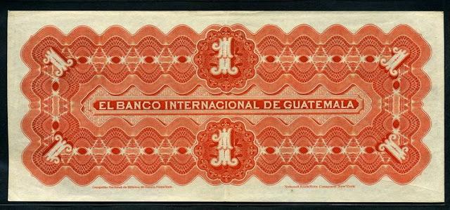 El Banco Internacional de Guatemala 1 Peso banknote