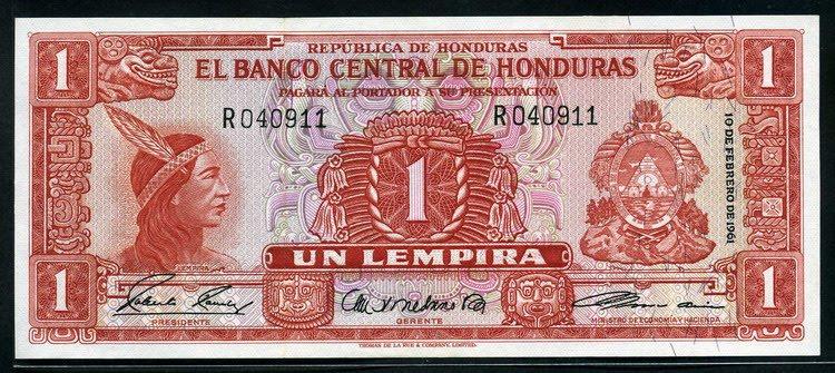 Honduras Currency 1 Honduran Lempira banknote of 1961 ...