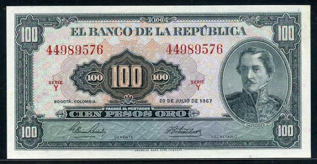Colombia antique paper money 100 Pesos Oro banknote Notafilia Numismática collecting paper money Papiergeld billete