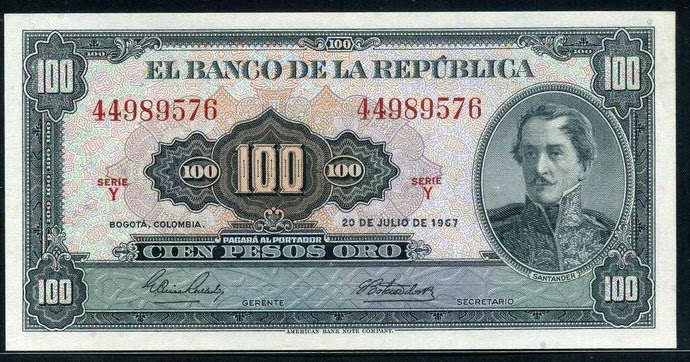 Currency Of Colombia 100 Pesos Oro Banknote Of 1967 General Santander World Banknotes Amp Coins