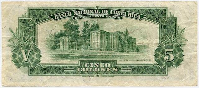 COSTA RICA currency 5 COLONES Notafilia Numismática collecting paper money Papiergeld