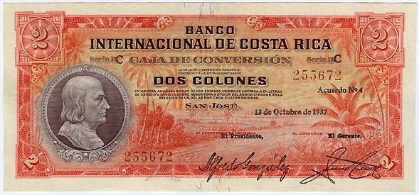 COSTA RICA 2 COLONES