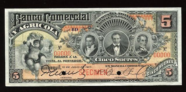 Ecuador Banco Comercial y Agricola 5 Sucres Specimen Banknote